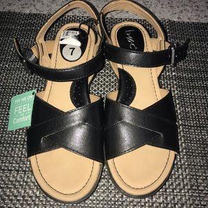 Boc Black Wedge Sandals